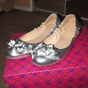 Tory Burch Silver Loafers